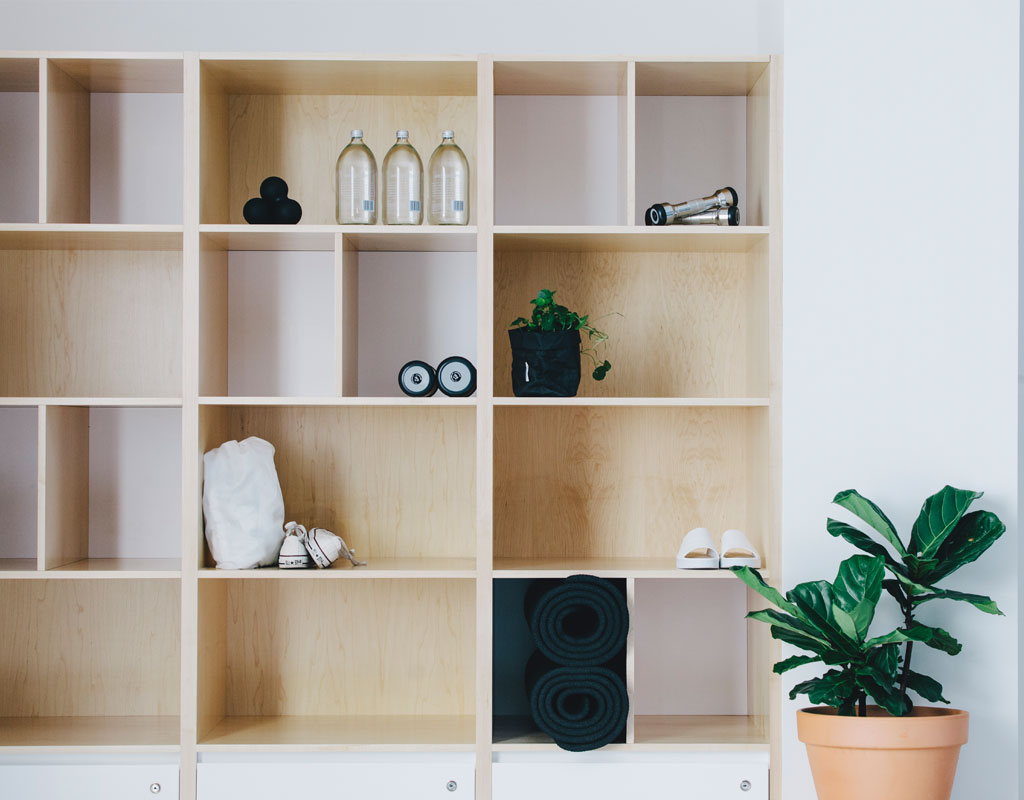 Q Pilates studio shelves