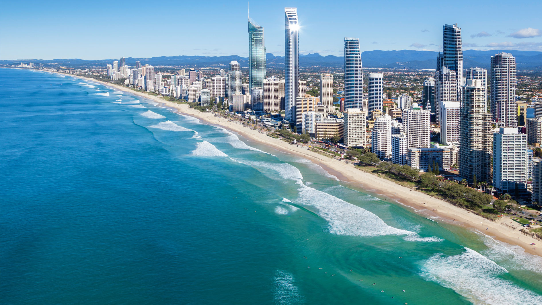 Gold Coast Surfer's Paradise beach on sunny day, Queensland